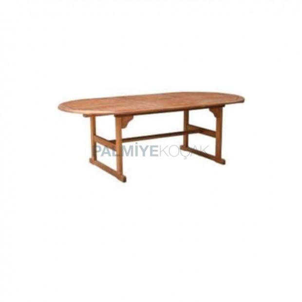 Oval İroko Bahçe Masası