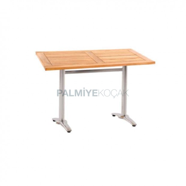 Iroko Table with Stainless Legs