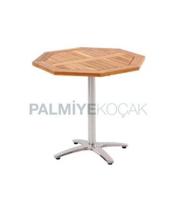 Octagon Metal Leg Iroko Table