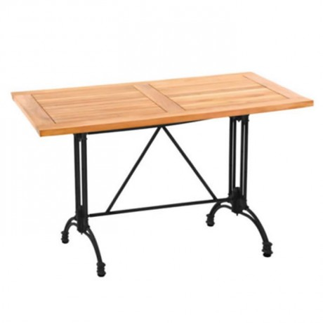 Iroko Table with Black Cast Leg - ikm1302