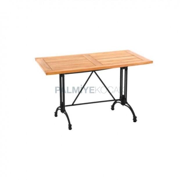 Iroko Table with Black Cast Leg