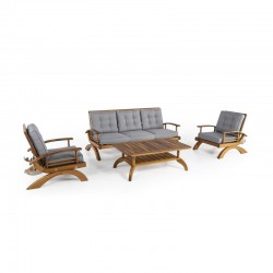 Gray Cushioned Quilted Garden Seating Set