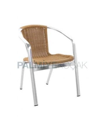 Honey Colored Aluminum Chair