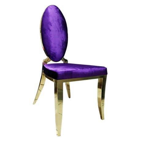 Purple Upholstery Oval Backrest Restaurant With Metal Frame