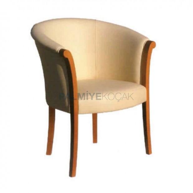 Bej Ahşap Kollu Rustik Sandalye