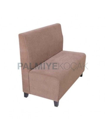 Beige Fabric Upholstered Wooden Footed Cafe Booths