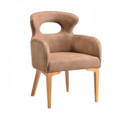 Beige Fabric Upholstered Classic Cafe Chair