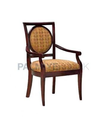 Bej Kumaş Döşemeli Klasik Kollu Sandalye