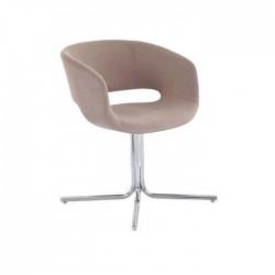 Beige Fabric Upholstered Chrome Leg Polyurethane Armchair