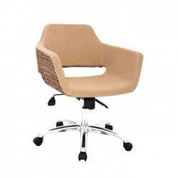 Beige Fabric Upholstered Chrome Leg Polyurethane Chair