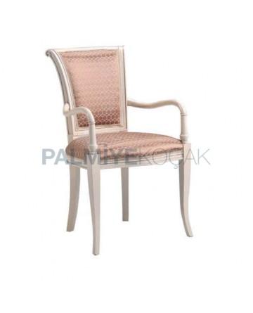 Beyaz Boyalı Klasik Kollu Sandalye