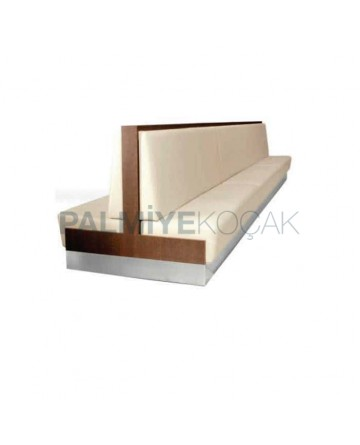 White Leather Wooden Frame Otel Booths