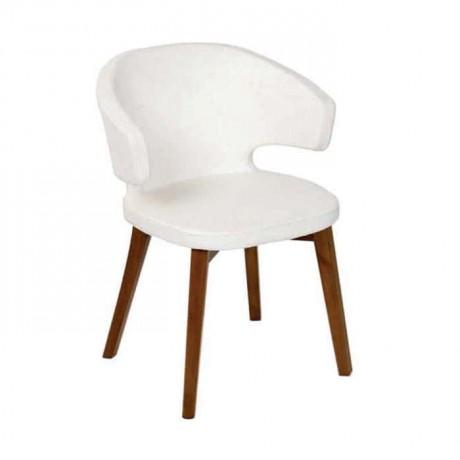 Beyaz Derili Ceviz Renk Boyalı Poliüretan Sandalye - psa688