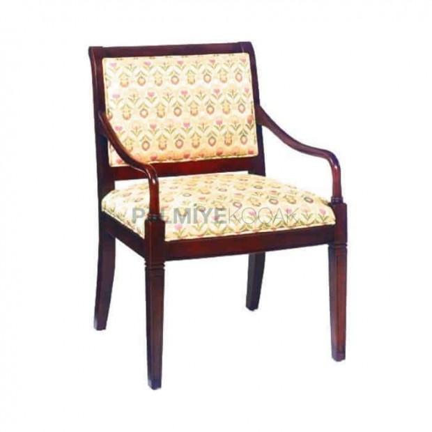 Beyaz Desenli Kumaşlı Kollu Resraurant Sandalyesi