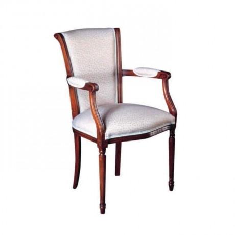 Beyaz Kumaş Döşemeli Kollu Sandalye - ksak26