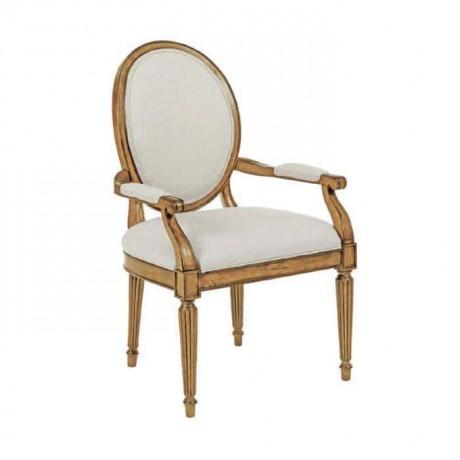Beyaz Kumaş Döşemeli Tornalı Kollu Sandalye - ksak77