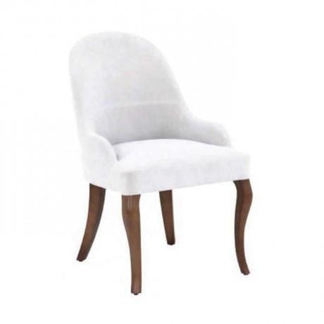 Beyaz Kumaşlı Ahşap Ayaklı Poliüretan Sandalye - psa641