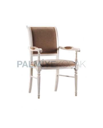 Beyaz Lake Boyalı Kahve Kumaş Döşemeli Tornalı Klasik Sandalye