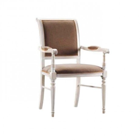 White Lacquered Brown Fabric Upholstered Turned Classic Chair - ksak117