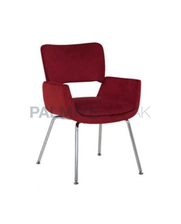 Claret Red Fabric Upholstered Polyurethane Chair