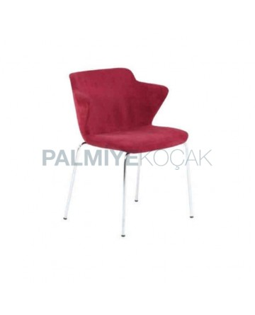 Claret Red Fabric Upholstered Polyurethane Chair with Chromium Pipe Leg