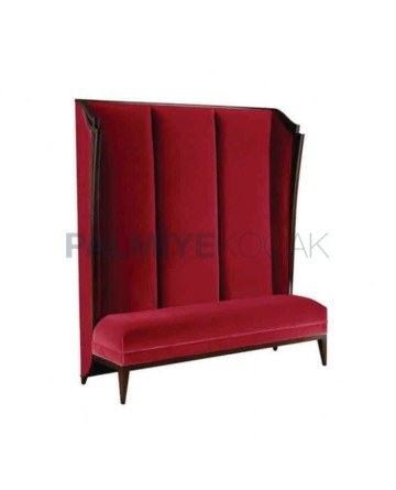 Claret Red Fabric Upholstered Restaurant Booths