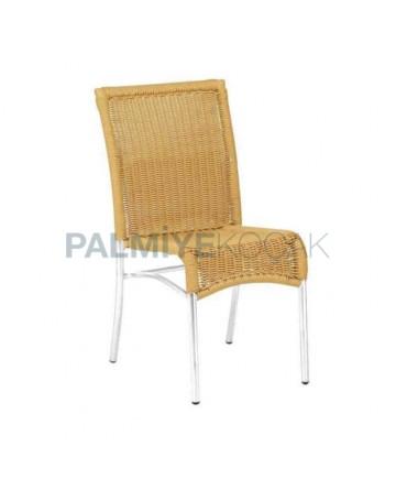Braided Aluminum Armless Cafe Chair