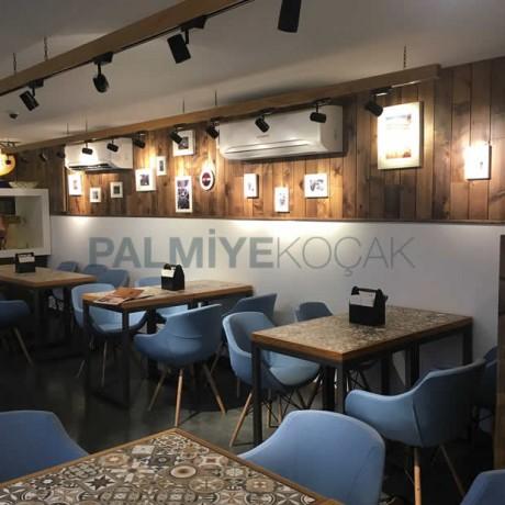 Eames Sandalye Motifli Kare Tablalı Cafe Masası Takımı - crs04