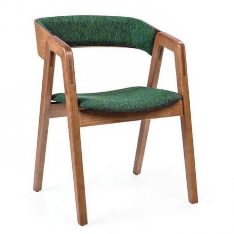 Cafe Sandalyesi Ahşap Kumaş Döşemeli - nkas34