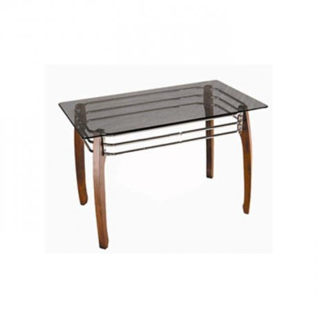 Glass Table with Wooden Leg - cms03