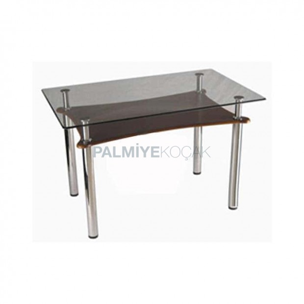 Chrome Tube Leg Glass Table