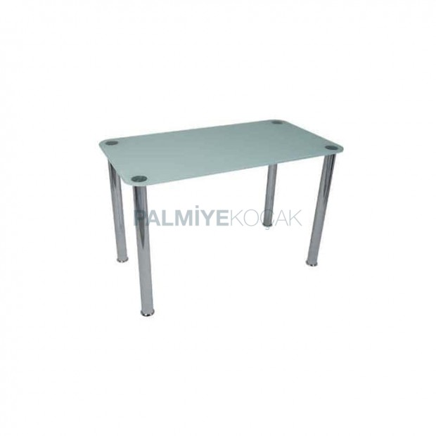 Chrome Pipe Four Leg Glass Table