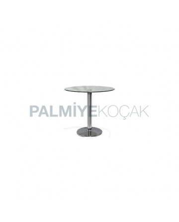 Stainless Round Base Round Glass Table