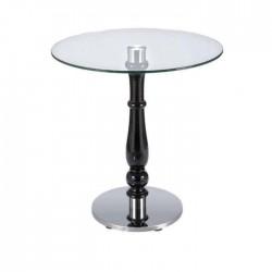 Lathe Leg Metal Base Round Glass Table