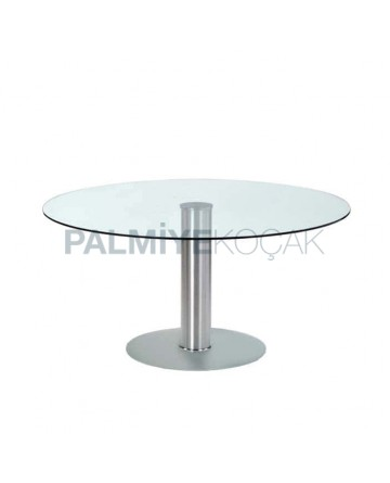 Round Glass Table with Stainless Leg