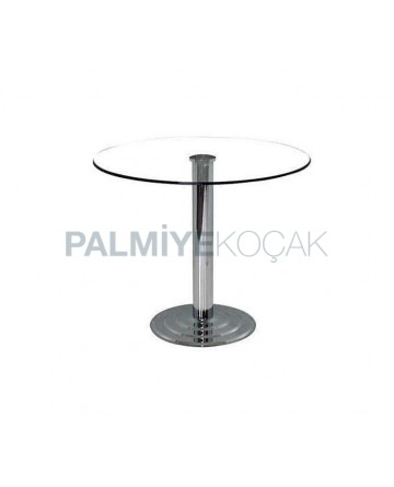 Round Chrome Bases Glass Table
