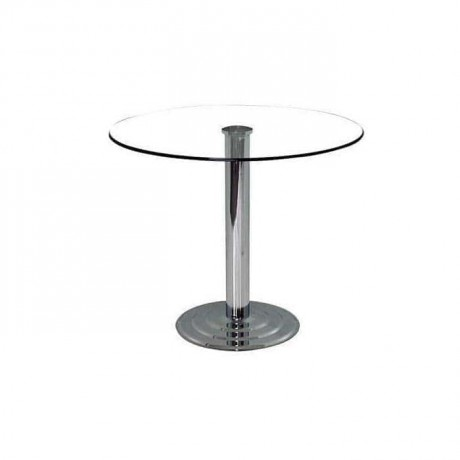 Round Chrome Bases Glass Table - cms09