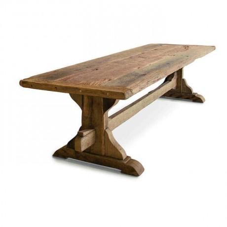 Tellenmiş Eskitilmiş Ahşap Klasik Çam Bahçe Masası - sms3051