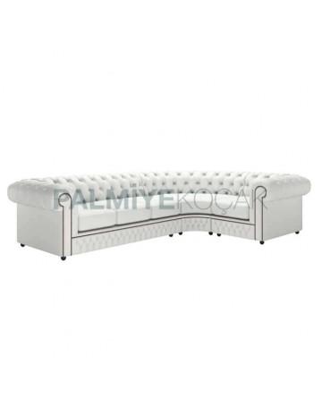 White Leather Upholstered Corner Chester Armchair