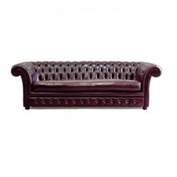 Bordeaux Leather Upholstered Triple Chester Armchair