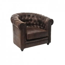 Brown Leather Upholstered Single Chester