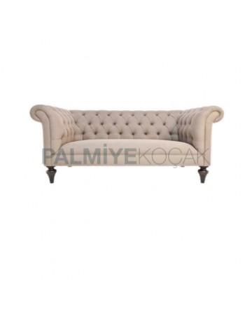 Fabric Upholstered Turned Leg Chester Armchair