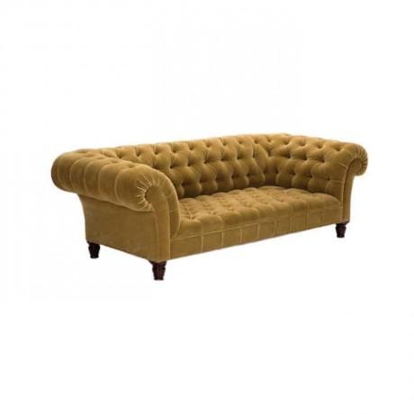 Sarı Kumaş Döşemeli Üçlü Chester Kanepe - chk4543