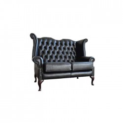Black Leather Upholstered Classic Chester