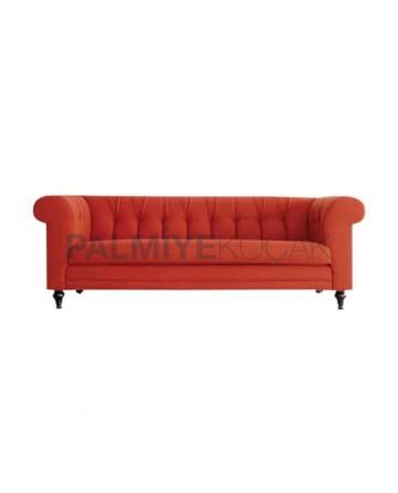 Orange Upholstered Wooden Chester Armchair