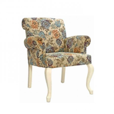 Flower Patterned White Lacquered Painted Armchair - ksak113