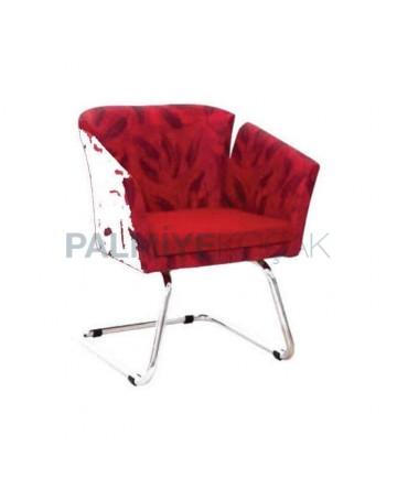 Flower Patterned Chromium Leg Seat