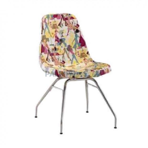 Çiçek Desenli Krom Boru Ayaklı Poliüretan Sandalye