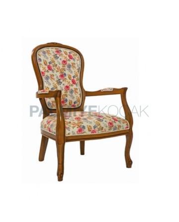 Çiçek Desenli Kumaş Döşemeli Eskitme Klasik Kollu Sandalye