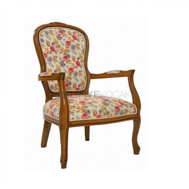 Flower Patterned Fabric Upholstered Classic Armchair